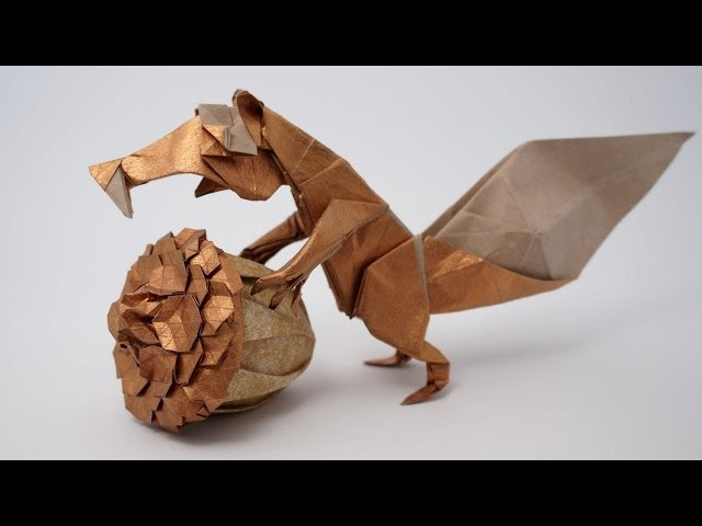 Illustration Of A Paper Origami Squirrel With Mushroom Paper Zoo ... | 480x640