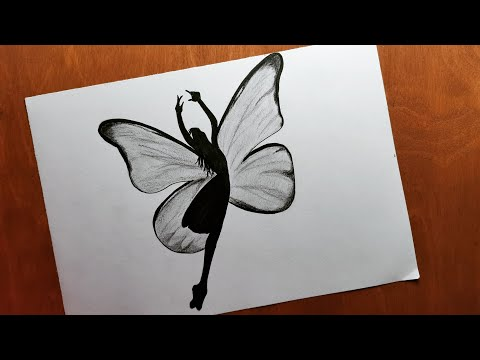 How To Draw A Girl As Butterfly Easy رسم فتاة فراشة رسم بالرصاص