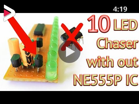 10 LED chaser using Transistor and 4017 IC دیدئو dideo
